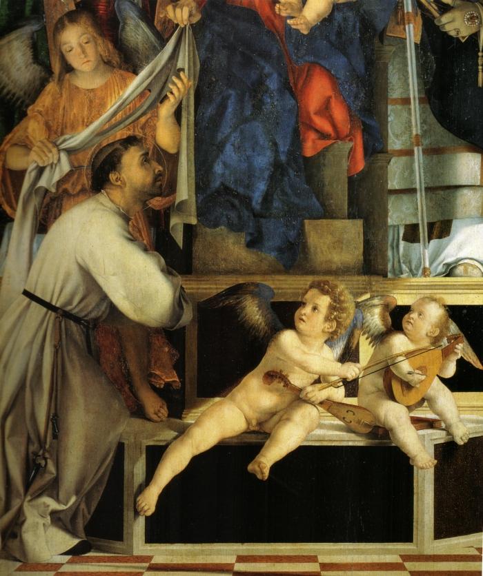 Lorenzo Lotto, angeli musicanti, particolare del Polittico di Recanati, 1506-1508