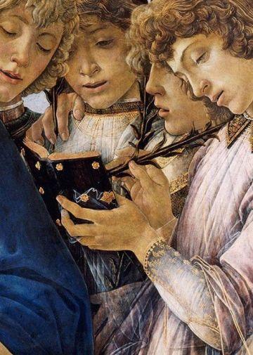 Sandro Botticelli, Maria con Bambino e angeli cantanti, 1477 (dettaglio)